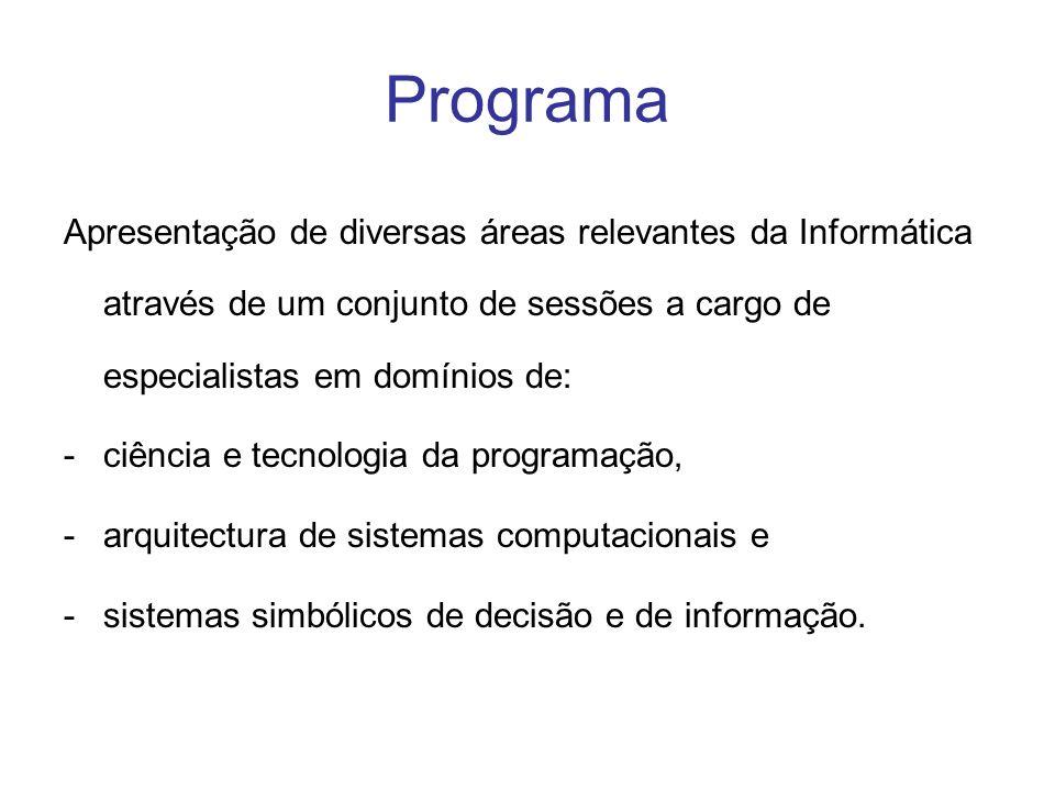 Programa Apresentação de diversas áreas relevantes da Informática através de um conjunto de sessões a cargo de especialistas em domínios de: -ciência e tecnologia da programação, -arquitectura de sistemas computacionais e -sistemas simbólicos de decisão e de informação.