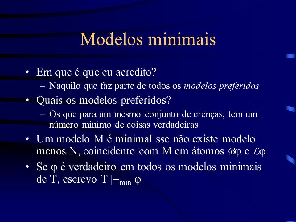 Modelos minimais Em que é que eu acredito.