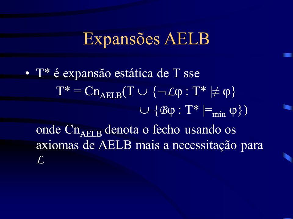 Expansões AELB T* é expansão estática de T sse T* = Cn AELB (T { L : T* | } { B : T* |= min }) onde Cn AELB denota o fecho usando os axiomas de AELB mais a necessitação para L