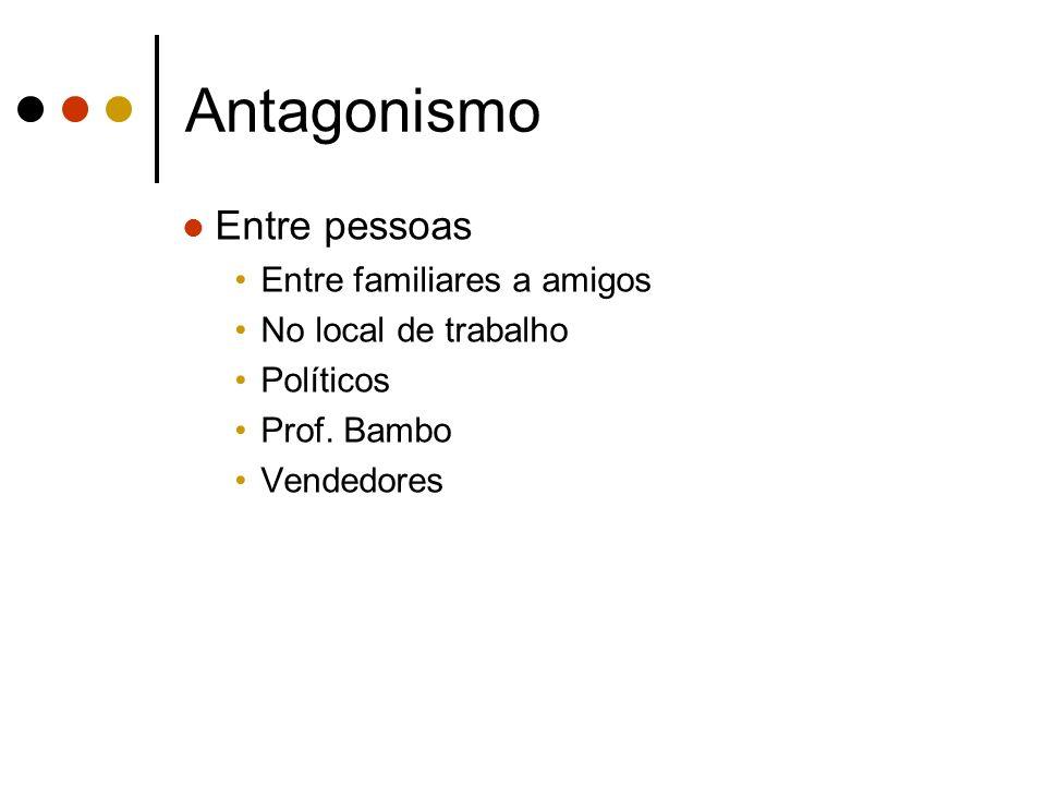 Antagonismo Entre pessoas Entre familiares a amigos No local de trabalho Políticos Prof. Bambo Vendedores