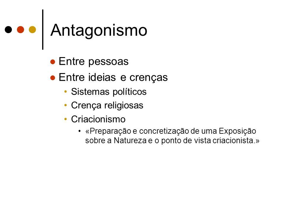Antagonismo Entre pessoas Entre ideias e crenças Sistemas políticos Crença religiosas Criacionismo «Preparação e concretização de uma Exposição sobre