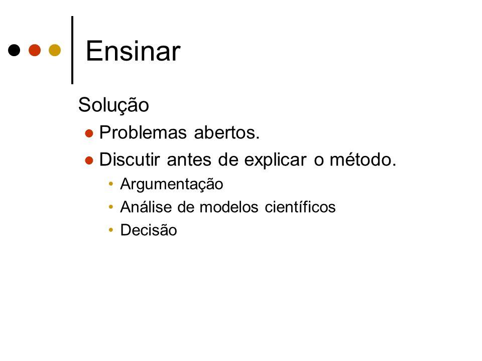 Ensinar Solução Problemas abertos. Discutir antes de explicar o método. Argumentação Análise de modelos científicos Decisão