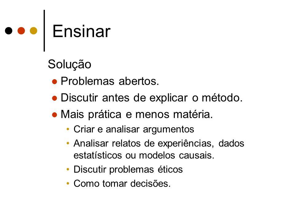 Ensinar Solução Problemas abertos. Discutir antes de explicar o método. Mais prática e menos matéria. Criar e analisar argumentos Analisar relatos de