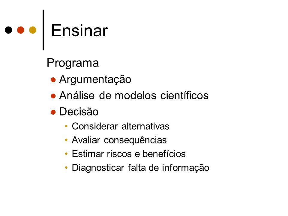 Ensinar Programa Argumentação Análise de modelos científicos Decisão Considerar alternativas Avaliar consequências Estimar riscos e benefícios Diagnos