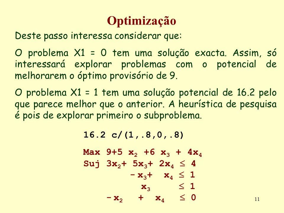 11 Optimização Deste passo interessa considerar que: O problema X1 = 0 tem uma solução exacta. Assim, só interessará explorar problemas com o potencia