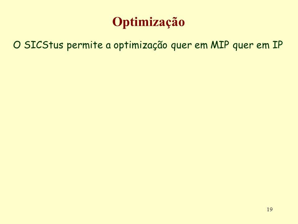 19 Optimização O SICStus permite a optimização quer em MIP quer em IP
