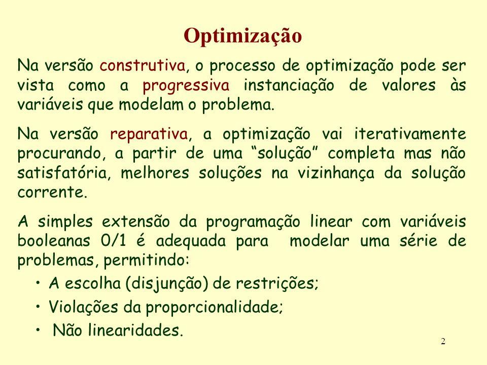 2 Optimização Na versão construtiva, o processo de optimização pode ser vista como a progressiva instanciação de valores às variáveis que modelam o pr