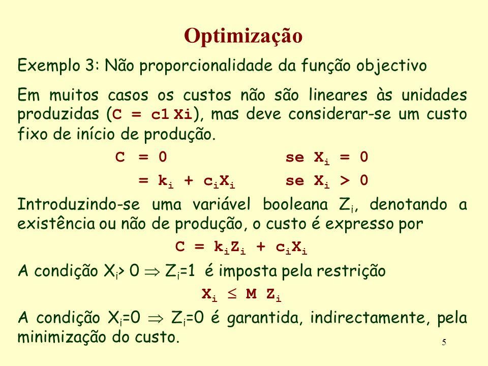 5 Optimização Exemplo 3: Não proporcionalidade da função objectivo Em muitos casos os custos não são lineares às unidades produzidas ( C = c1 Xi ), mas deve considerar-se um custo fixo de início de produção.