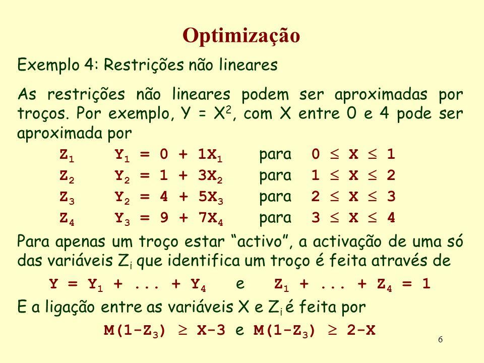 6 Optimização Exemplo 4: Restrições não lineares As restrições não lineares podem ser aproximadas por troços. Por exemplo, Y = X 2, com X entre 0 e 4