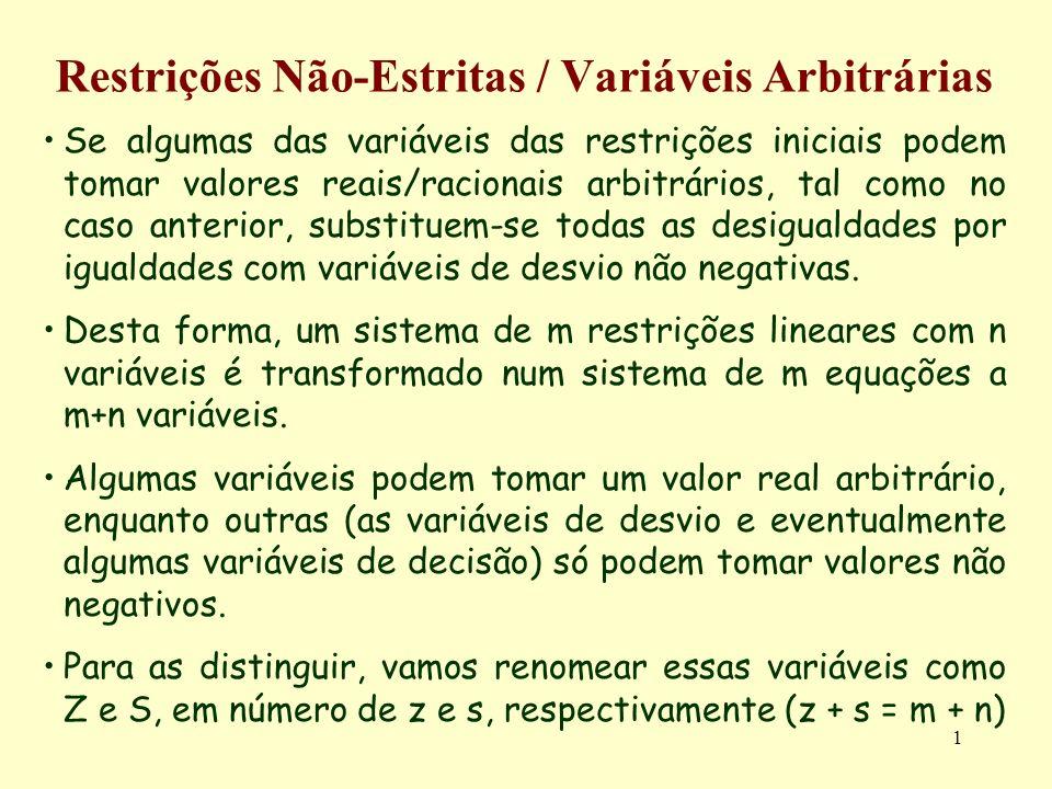 1 Restrições Não-Estritas / Variáveis Arbitrárias Se algumas das variáveis das restrições iniciais podem tomar valores reais/racionais arbitrários, ta