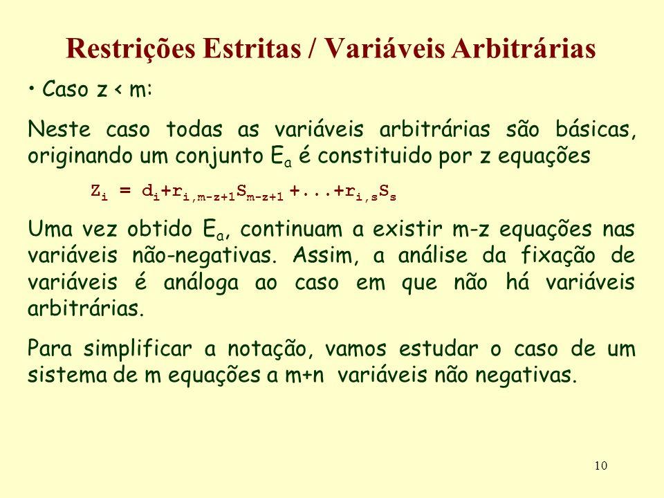 10 Restrições Estritas / Variáveis Arbitrárias Caso z < m: Neste caso todas as variáveis arbitrárias são básicas, originando um conjunto E a é constit