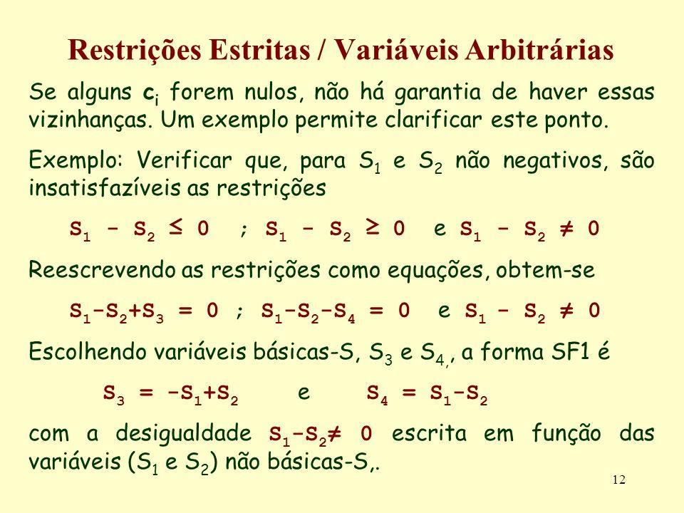 12 Restrições Estritas / Variáveis Arbitrárias Se alguns c i forem nulos, não há garantia de haver essas vizinhanças. Um exemplo permite clarificar es