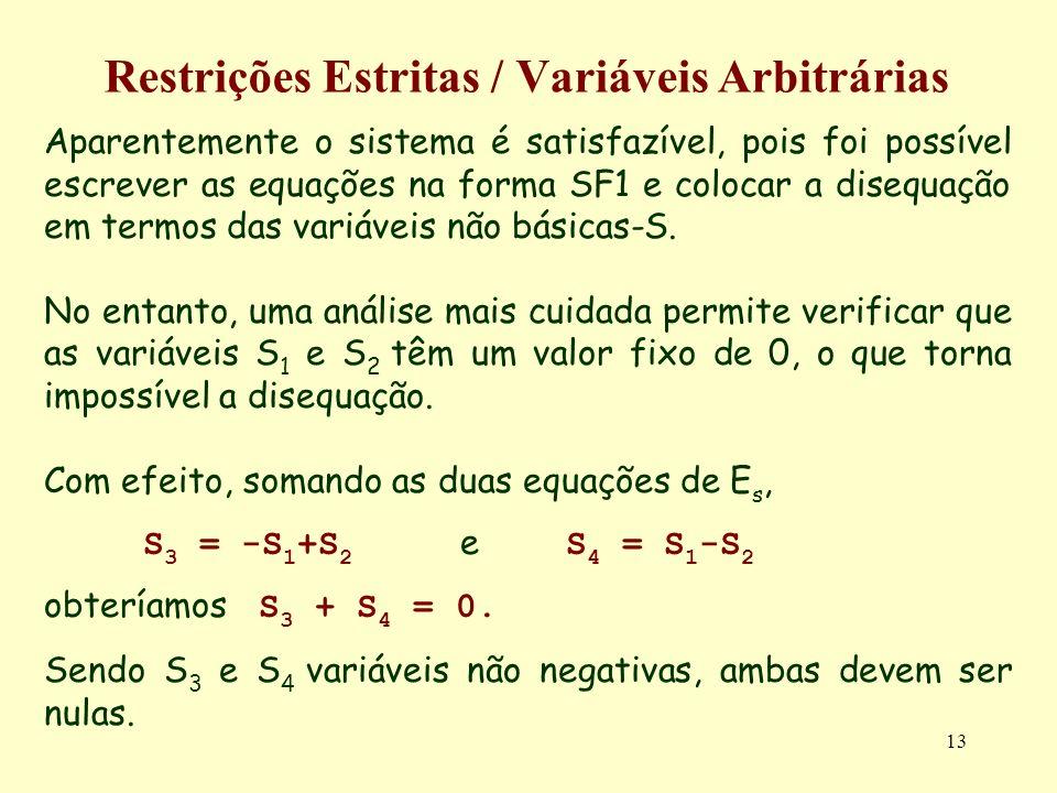 13 Restrições Estritas / Variáveis Arbitrárias Aparentemente o sistema é satisfazível, pois foi possível escrever as equações na forma SF1 e colocar a