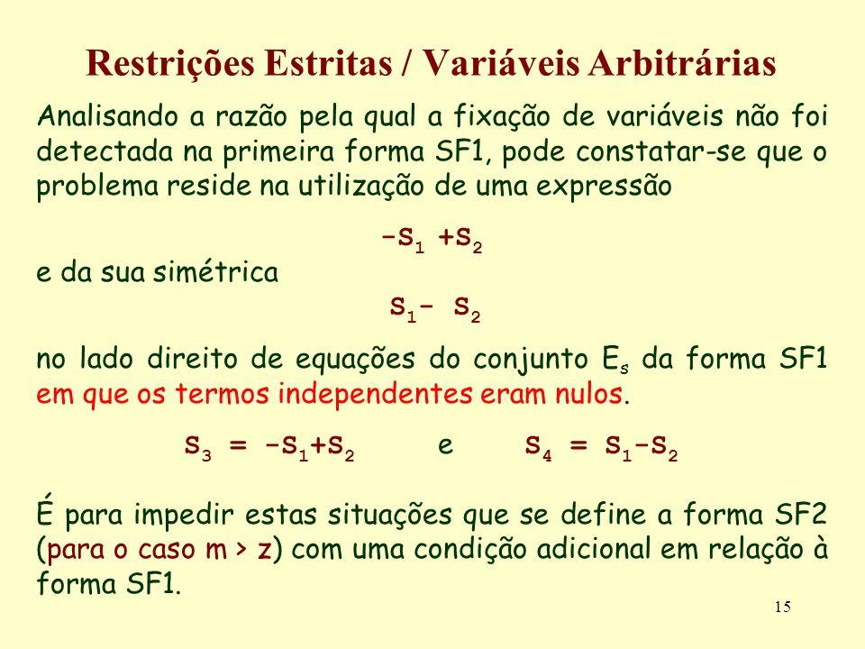 15 Restrições Estritas / Variáveis Arbitrárias Analisando a razão pela qual a fixação de variáveis não foi detectada na primeira forma SF1, pode const
