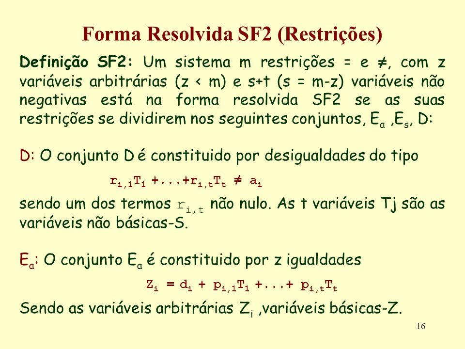 16 Forma Resolvida SF2 (Restrições) Definição SF2: Um sistema m restrições = e, com z variáveis arbitrárias (z < m) e s+t (s = m-z) variáveis não nega