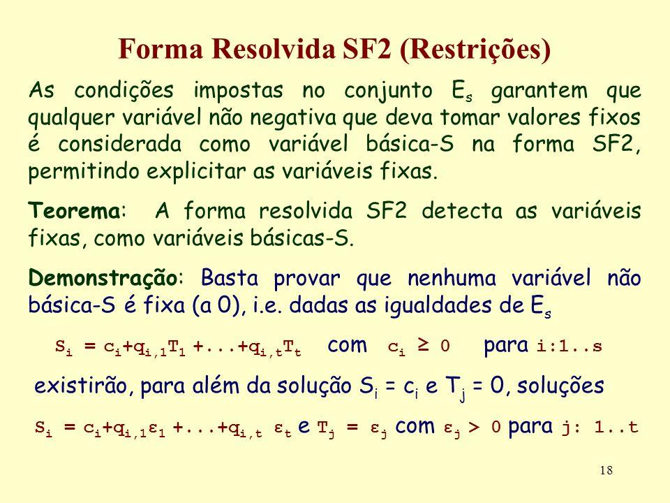 18 Forma Resolvida SF2 (Restrições) As condições impostas no conjunto E s garantem que qualquer variável não negativa que deva tomar valores fixos é c