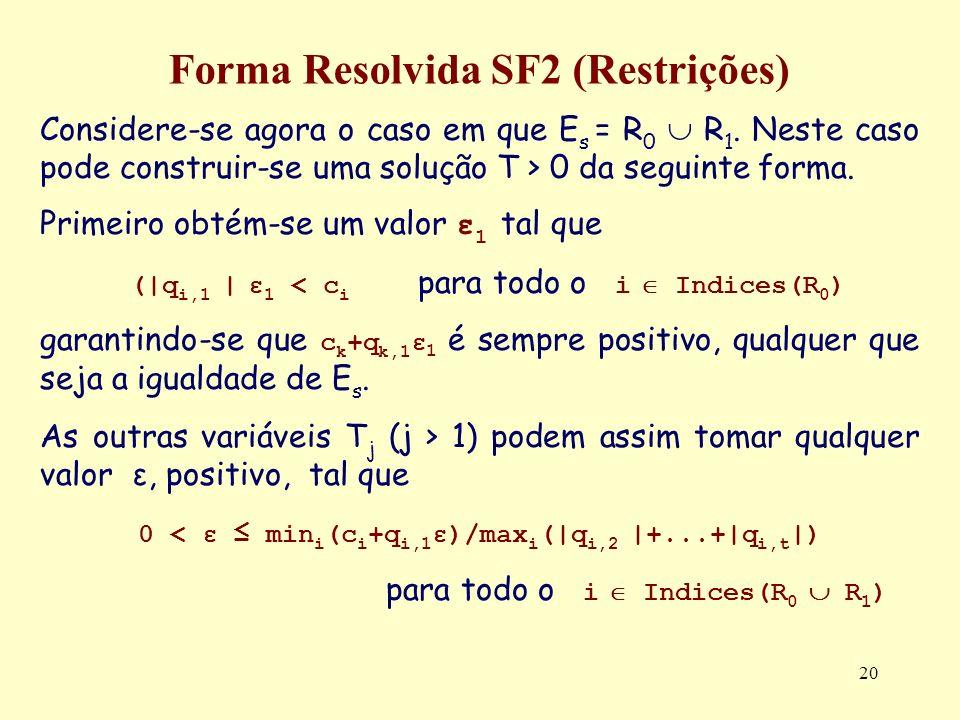 20 Forma Resolvida SF2 (Restrições) Considere-se agora o caso em que E s = R 0 R 1. Neste caso pode construir-se uma solução T > 0 da seguinte forma.
