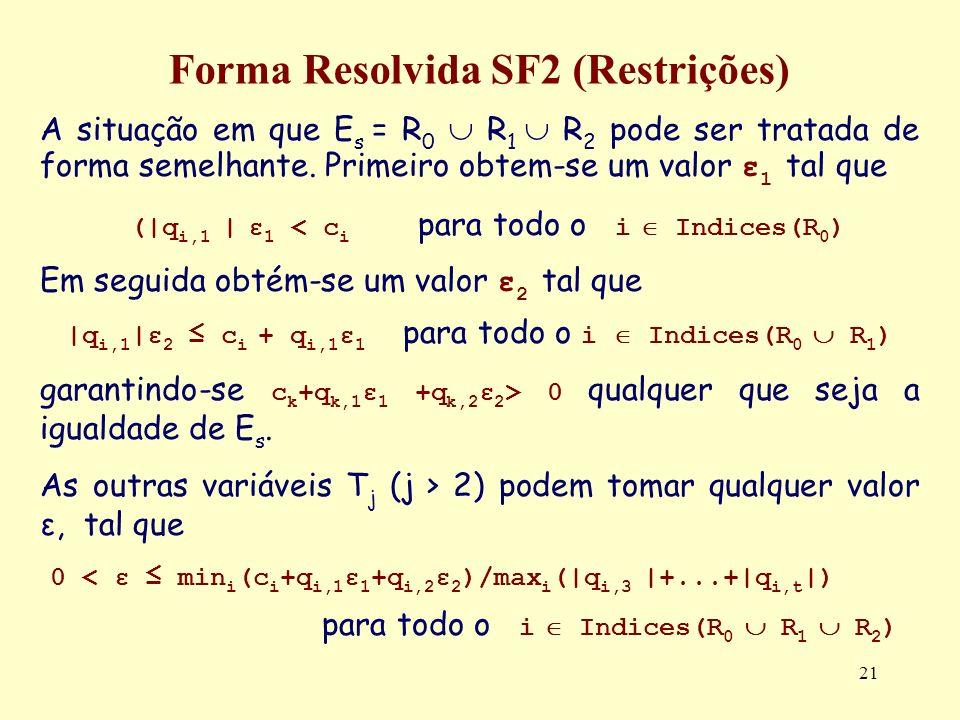 21 Forma Resolvida SF2 (Restrições) A situação em que E s = R 0 R 1 R 2 pode ser tratada de forma semelhante. Primeiro obtem-se um valor ε 1 tal que (