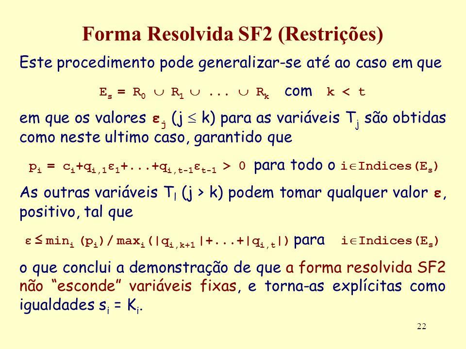 22 Forma Resolvida SF2 (Restrições) Este procedimento pode generalizar-se até ao caso em que E s = R 0 R 1... R k com k < t em que os valores ε j (j k