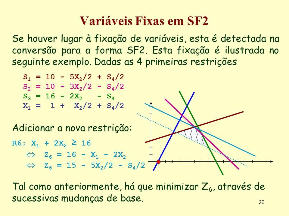 30 Se houver lugar à fixação de variáveis, esta é detectada na conversão para a forma SF2. Esta fixação é ilustrada no seguinte exemplo. Dadas as 4 pr