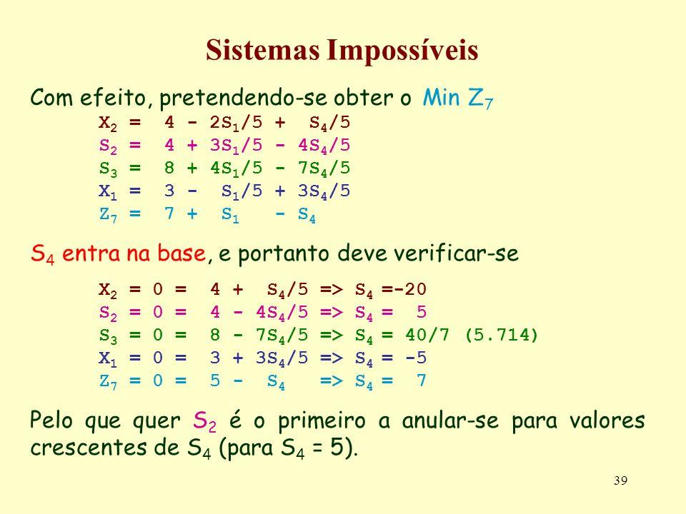 39 Sistemas Impossíveis Com efeito, pretendendo-se obter o Min Z 7 X 2 = 4 - 2S 1 /5 + S 4 /5 S 2 = 4 + 3S 1 /5 - 4S 4 /5 S 3 = 8 + 4S 1 /5 - 7S 4 /5