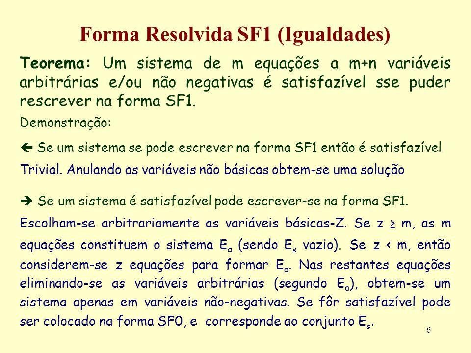 6 Forma Resolvida SF1 (Igualdades) Teorema: Um sistema de m equações a m+n variáveis arbitrárias e/ou não negativas é satisfazível sse puder rescrever