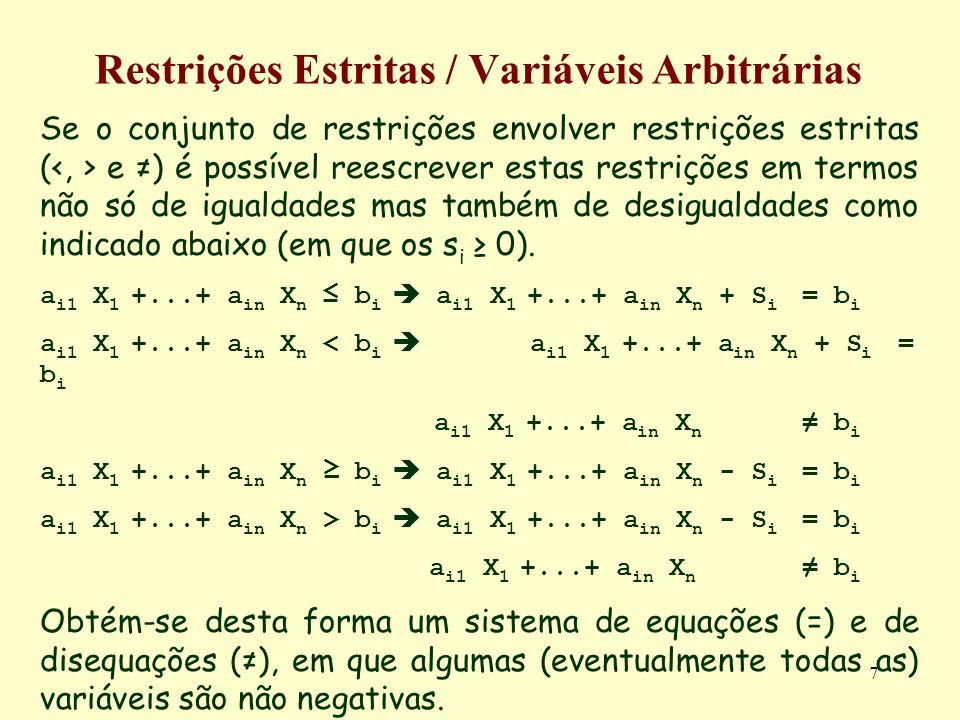 7 Restrições Estritas / Variáveis Arbitrárias Se o conjunto de restrições envolver restrições estritas ( e ) é possível reescrever estas restrições em