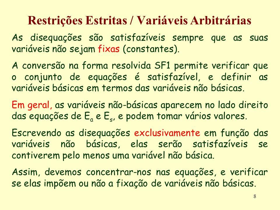 8 Restrições Estritas / Variáveis Arbitrárias As disequações são satisfazíveis sempre que as suas variáveis não sejam fixas (constantes). A conversão