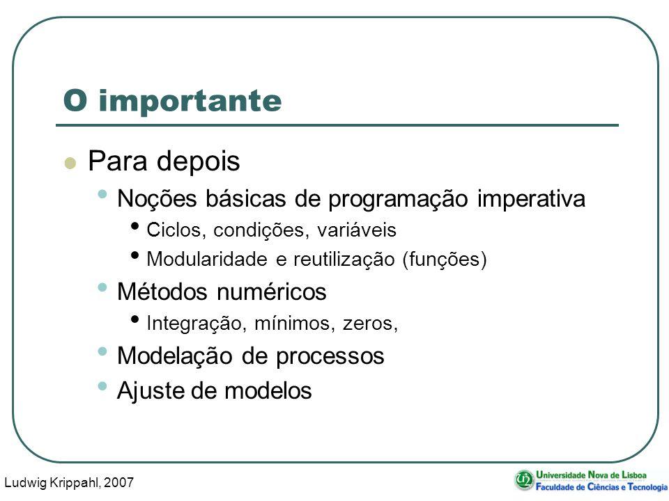 Ludwig Krippahl, 2007 22 O importante Para depois Noções básicas de programação imperativa Ciclos, condições, variáveis Modularidade e reutilização (funções) Métodos numéricos Integração, mínimos, zeros, Modelação de processos Ajuste de modelos