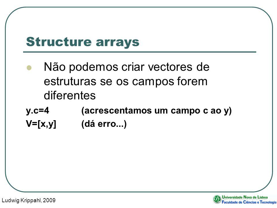 Ludwig Krippahl, 2009 11 Structure arrays Não podemos criar vectores de estruturas se os campos forem diferentes y.c=4(acrescentamos um campo c ao y) V=[x,y](dá erro...)