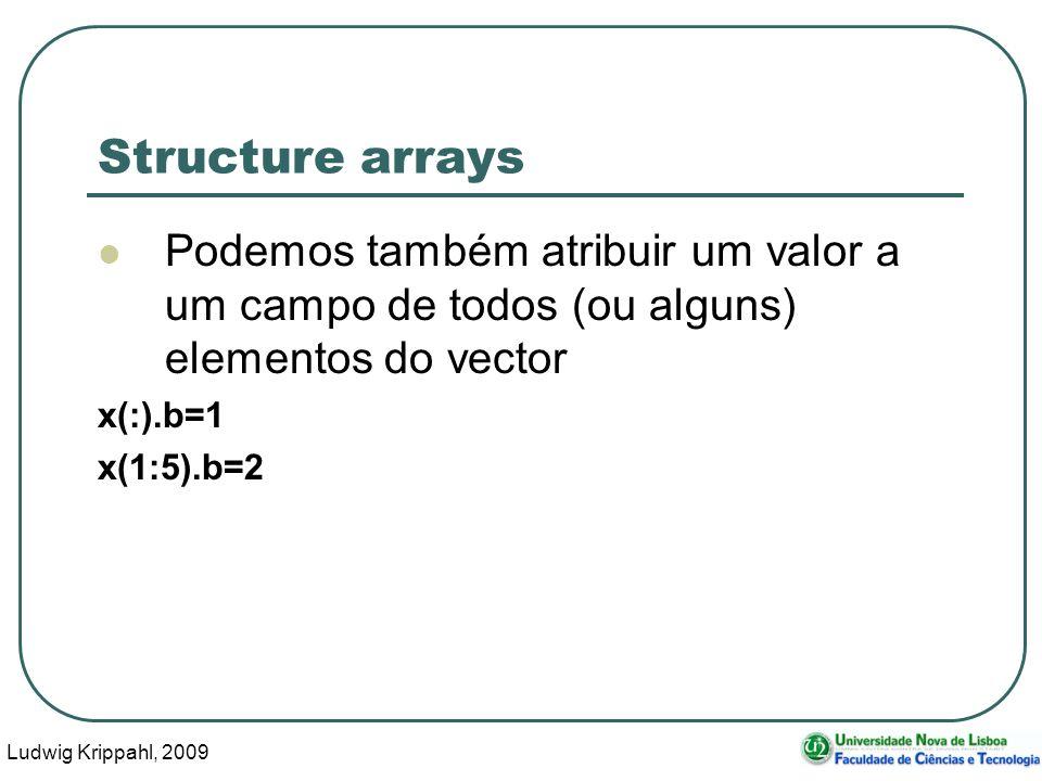 Ludwig Krippahl, 2009 14 Structure arrays Podemos também atribuir um valor a um campo de todos (ou alguns) elementos do vector x(:).b=1 x(1:5).b=2