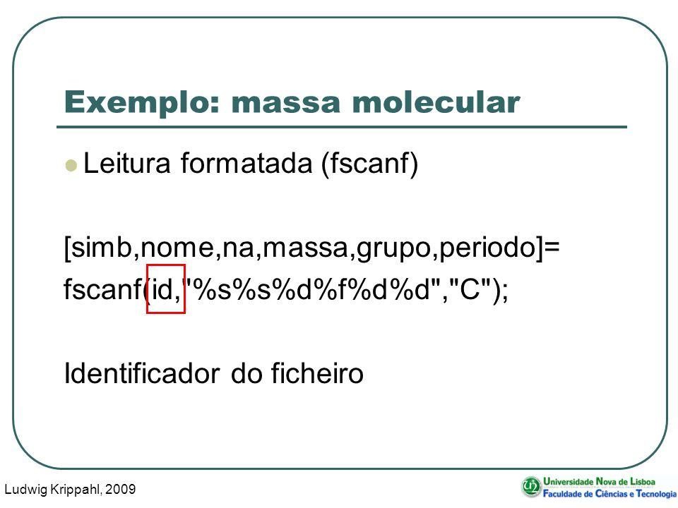 Ludwig Krippahl, 2009 20 Exemplo: massa molecular Leitura formatada (fscanf) [simb,nome,na,massa,grupo,periodo]= fscanf(id,