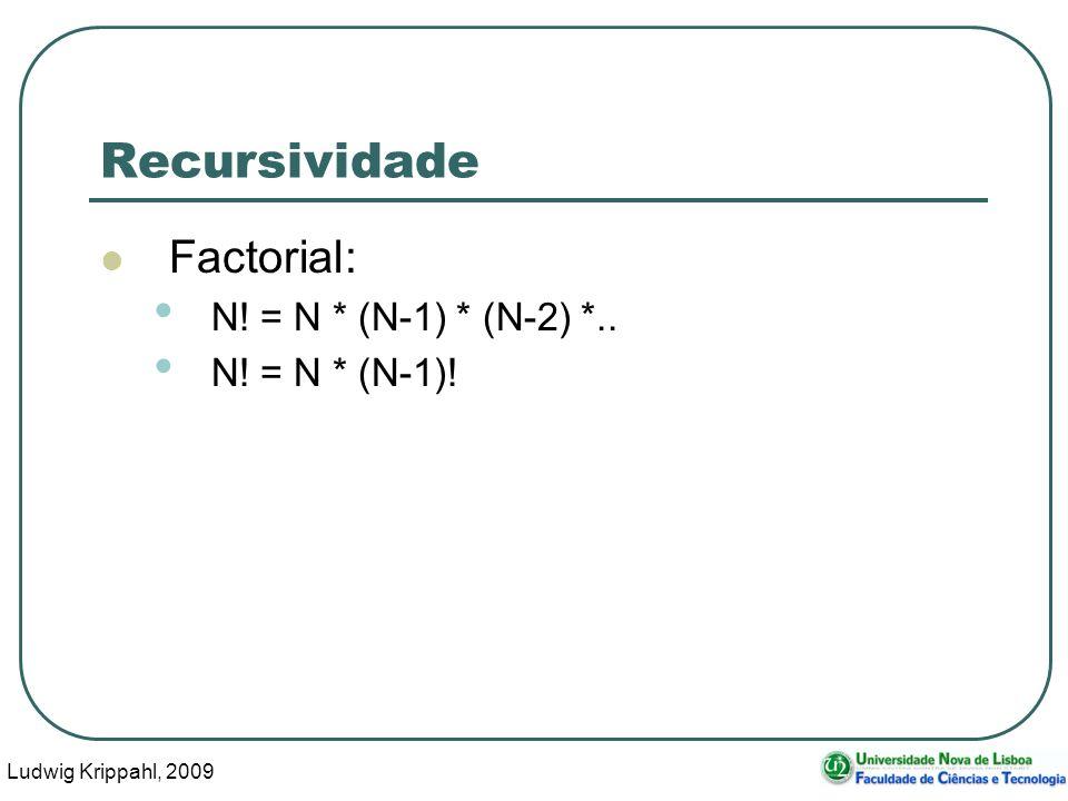 Ludwig Krippahl, 2009 33 Recursividade Factorial: N! = N * (N-1) * (N-2) *.. N! = N * (N-1)!