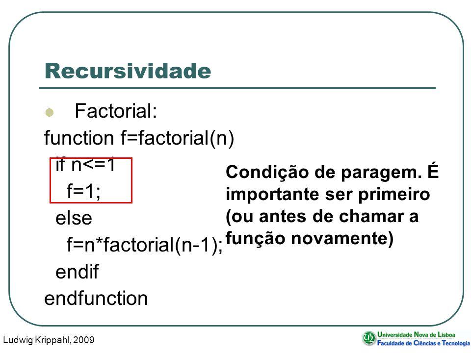 Ludwig Krippahl, 2009 34 Recursividade Factorial: function f=factorial(n) if n<=1 f=1; else f=n*factorial(n-1); endif endfunction Condição de paragem.
