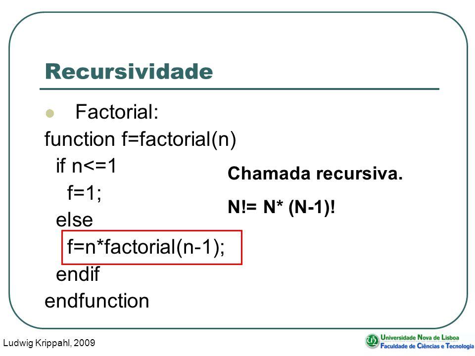 Ludwig Krippahl, 2009 35 Recursividade Factorial: function f=factorial(n) if n<=1 f=1; else f=n*factorial(n-1); endif endfunction Chamada recursiva.