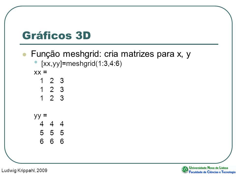 Ludwig Krippahl, 2009 47 Gráficos 3D Função meshgrid: cria matrizes para x, y [xx,yy]=meshgrid(1:3,4:6) xx = 1 2 3 yy = 4 4 4 5 5 5 6 6 6