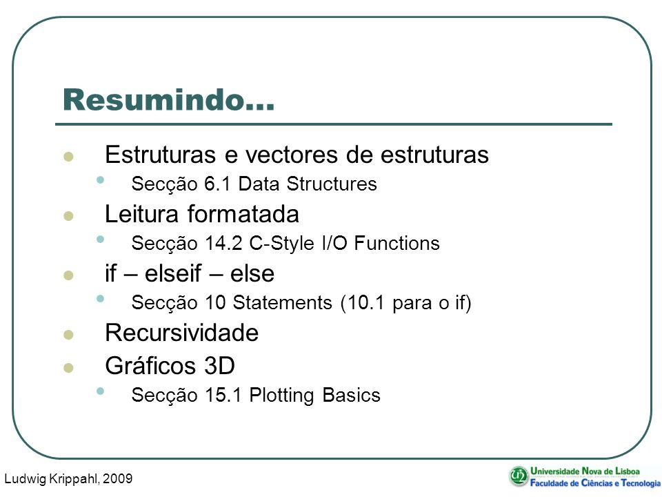 Ludwig Krippahl, 2009 53 Resumindo... Estruturas e vectores de estruturas Secção 6.1 Data Structures Leitura formatada Secção 14.2 C-Style I/O Functio