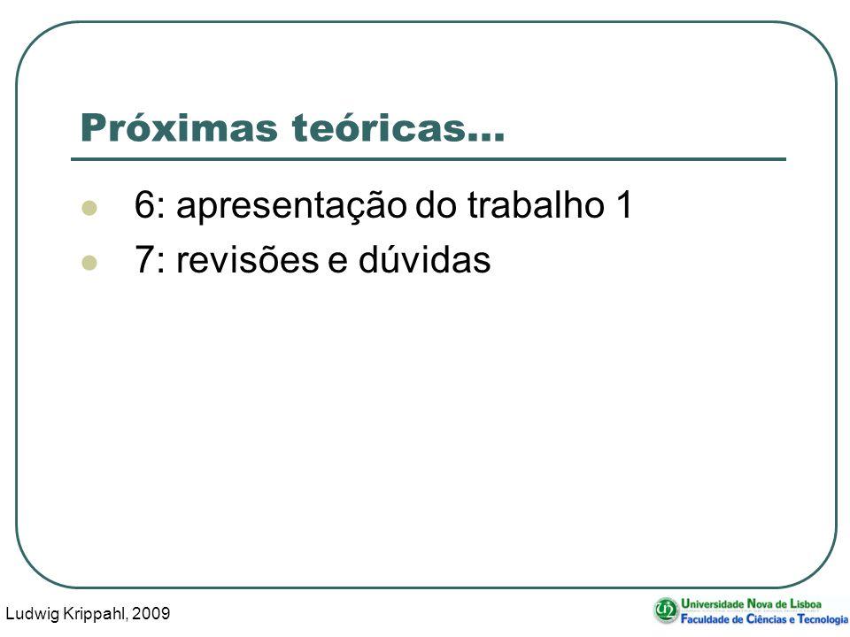 Ludwig Krippahl, 2009 54 Próximas teóricas... 6: apresentação do trabalho 1 7: revisões e dúvidas