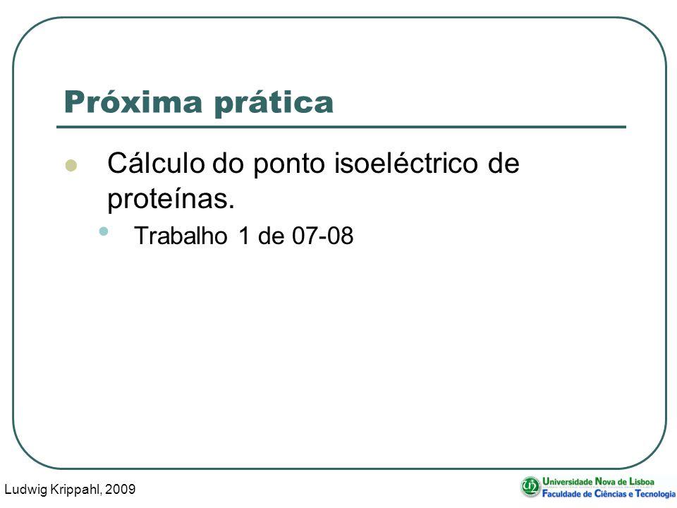 Ludwig Krippahl, 2009 55 Próxima prática Cálculo do ponto isoeléctrico de proteínas. Trabalho 1 de 07-08