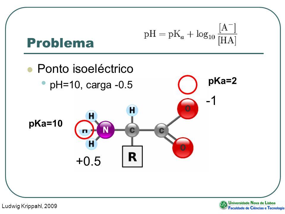 Ludwig Krippahl, 2009 62 Problema Ponto isoeléctrico pH=10, carga -0.5 pKa=10 pKa=2 +0.5