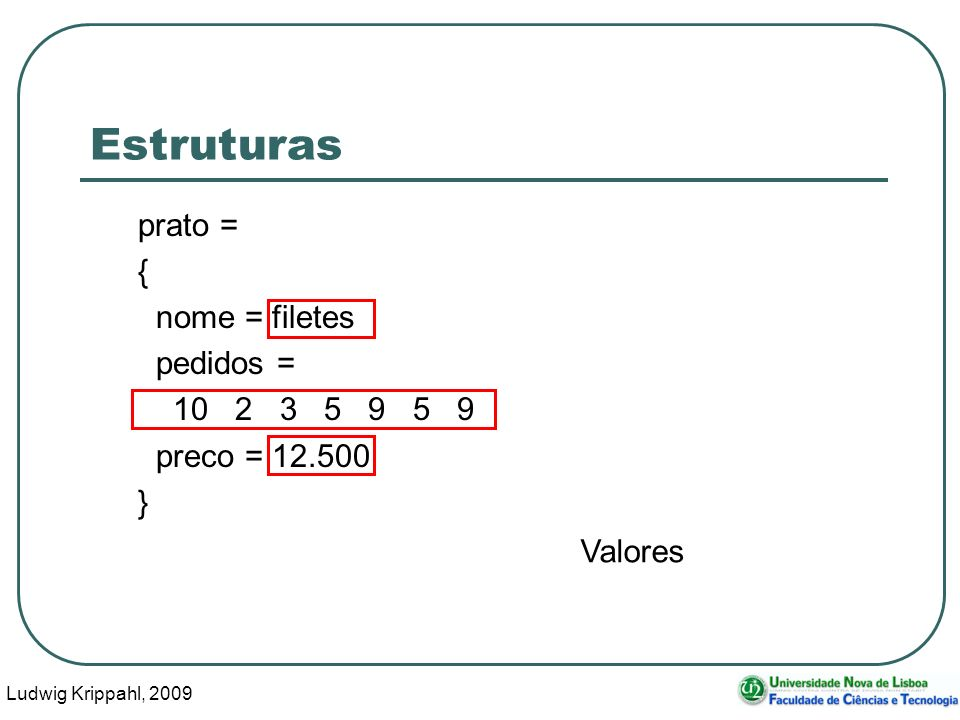 Ludwig Krippahl, 2009 7 Estruturas prato = { nome = filetes pedidos = 10 2 3 5 9 5 9 preco = 12.500 } Valores