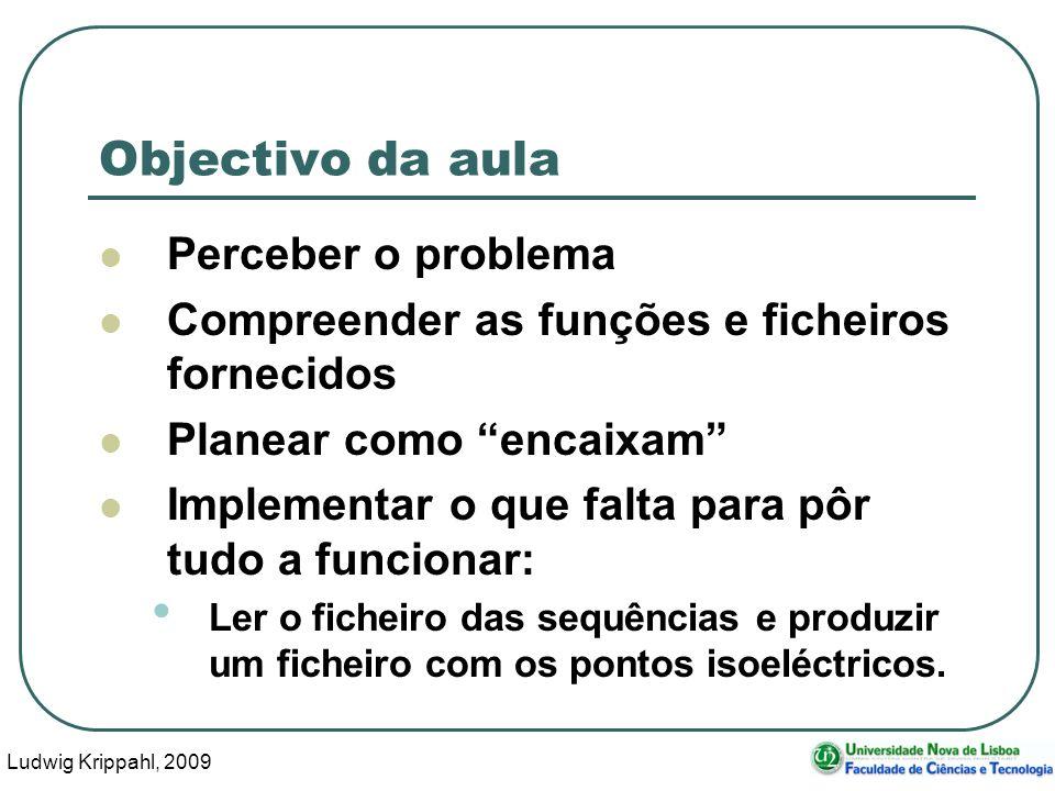 Ludwig Krippahl, 2009 73 Objectivo da aula Perceber o problema Compreender as funções e ficheiros fornecidos Planear como encaixam Implementar o que f