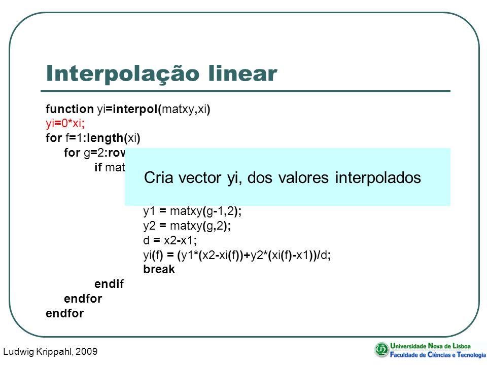 Ludwig Krippahl, 2009 10 Interpolação linear function yi=interpol(matxy,xi) yi=0*xi; for f=1:length(xi) for g=2:rows(matxy) if matxy(g,1)>=xi(f); x1 = matxy(g-1,1); x2 = matxy(g,1); y1 = matxy(g-1,2); y2 = matxy(g,2); d = x2-x1; yi(f) = (y1*(x2-xi(f))+y2*(xi(f)-x1))/d; break endif endfor Cria vector yi, dos valores interpolados