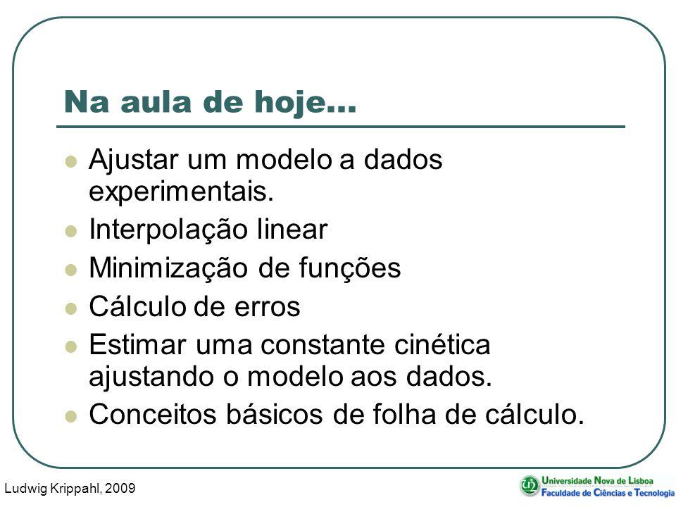 Ludwig Krippahl, 2009 2 Na aula de hoje... Ajustar um modelo a dados experimentais.