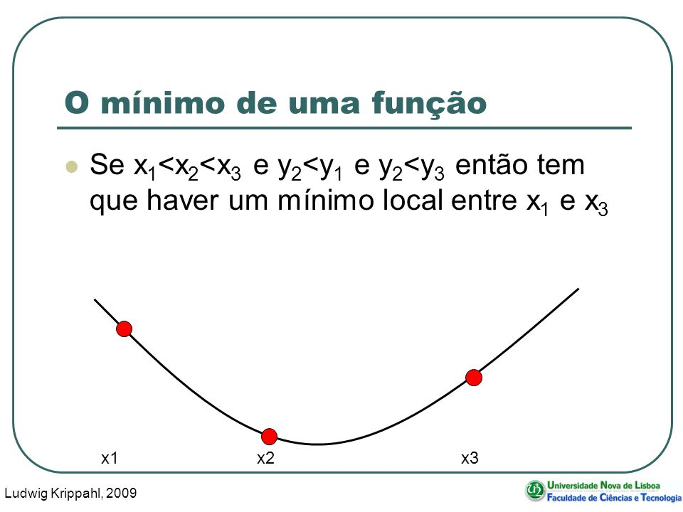 Ludwig Krippahl, 2009 24 O mínimo de uma função Se x 1 <x 2 <x 3 e y 2 <y 1 e y 2 <y 3 então tem que haver um mínimo local entre x 1 e x 3 x1 x2 x3
