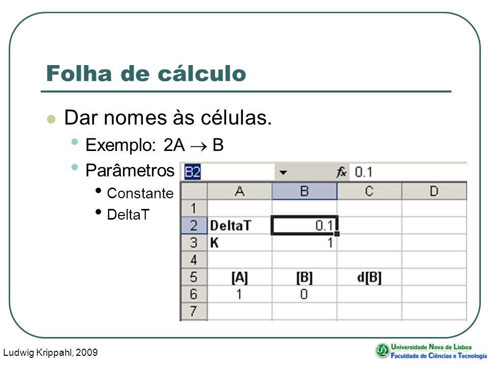Ludwig Krippahl, 2009 62 Folha de cálculo Dar nomes às células.
