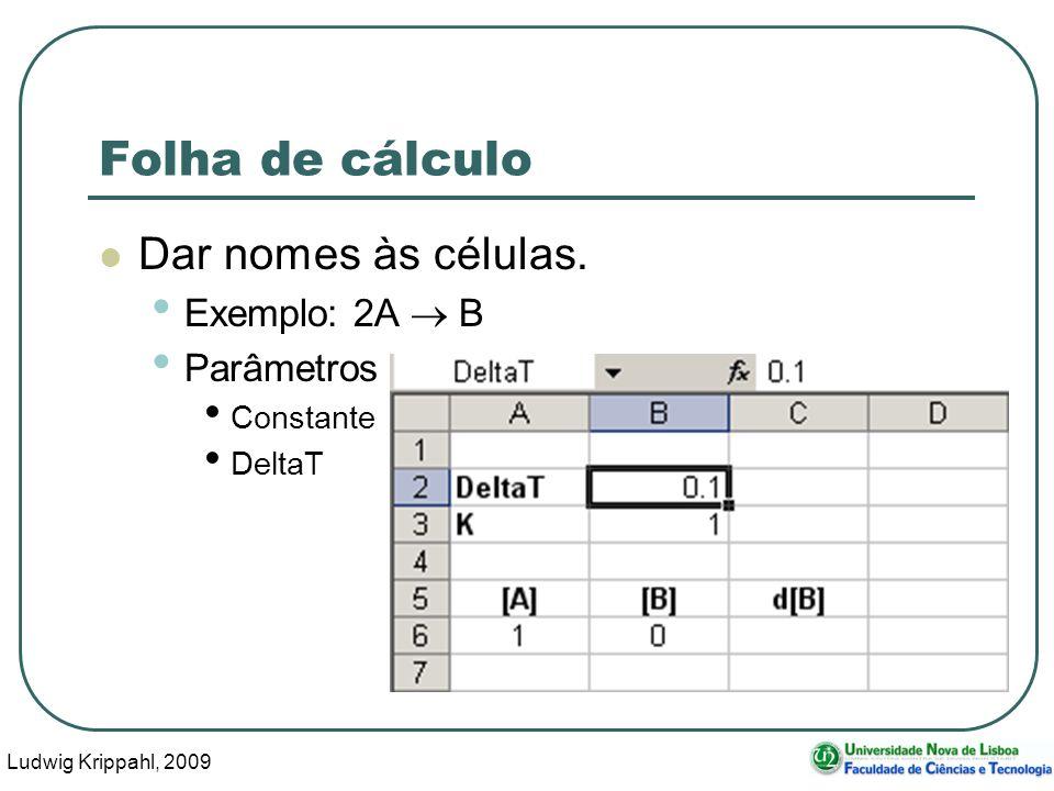 Ludwig Krippahl, 2009 63 Folha de cálculo Dar nomes às células.