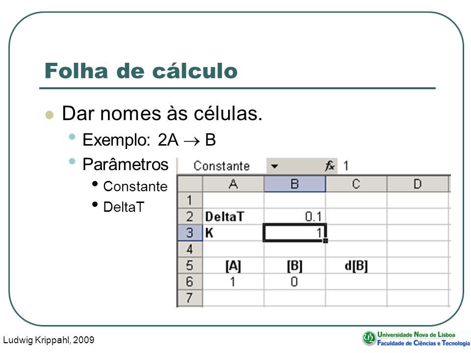 Ludwig Krippahl, 2009 64 Folha de cálculo Dar nomes às células.