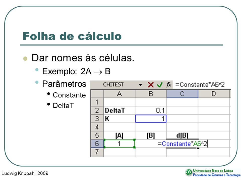 Ludwig Krippahl, 2009 65 Folha de cálculo Dar nomes às células.