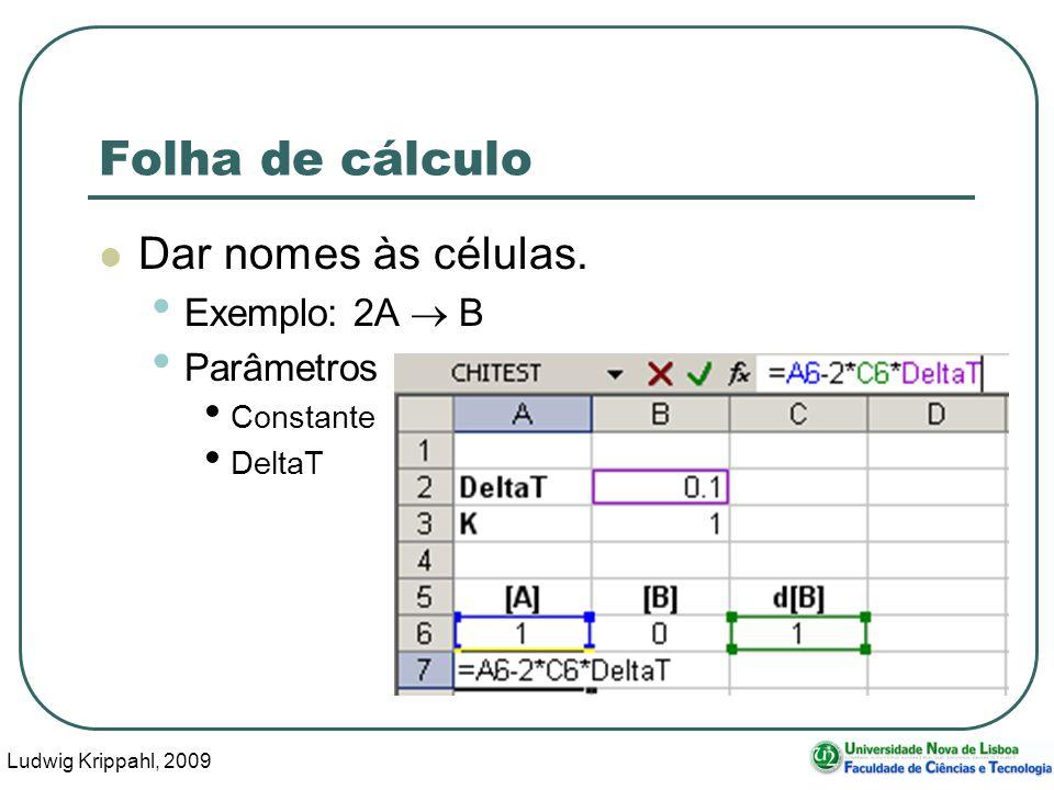 Ludwig Krippahl, 2009 66 Folha de cálculo Dar nomes às células.
